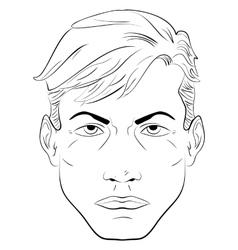 Sketch handsome man face vector image