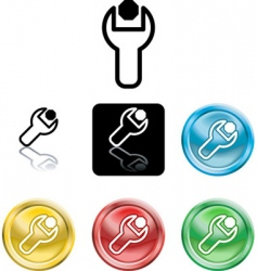 spanner and nut icons vector image vector image