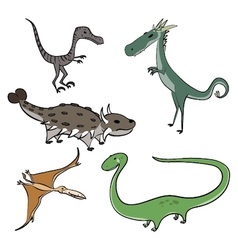 5 Cartoon Dinosaurs vector image