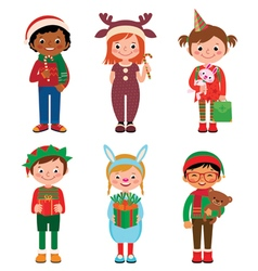 Children in costumes Christmas vector image