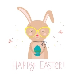 Easter card with funny rabbit and colored egg vector image vector image