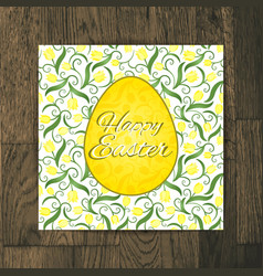 Easter greeting card with yellow tulips on wooden vector