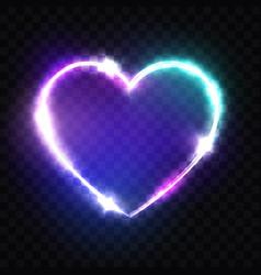 night club neon heart sign retro light signboard vector image vector image
