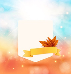 Paper note with ribbon and leaves on bright autumn vector image vector image