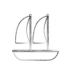 Sailboat marine isolated icon vector