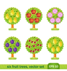 six fruit trees vector image vector image