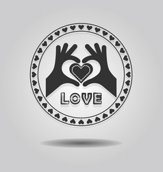 abstract showing heart symbol hands and word love vector image vector image