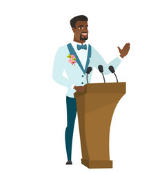 african groom giving a speech from tribune vector image