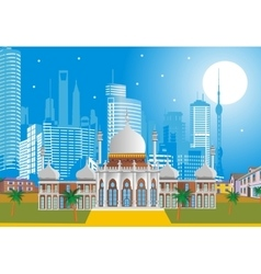 Arabic Palace on the background of the modern city vector image vector image
