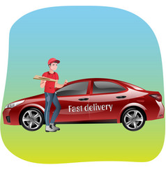 delivery man with pizza vector image