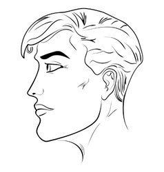 Outline side profile of a human male head vector image vector image