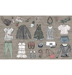 spring and summer fashion collection of clothes an vector image vector image