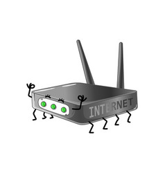 funny internet router cartoon character vector image vector image
