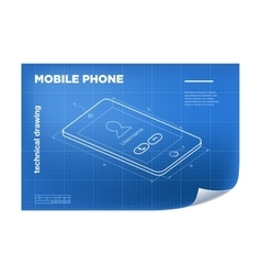 Technical with mobile phone drawing vector image vector image