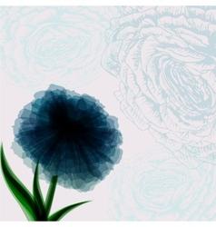 Vintage background with dark blue flower vector image vector image