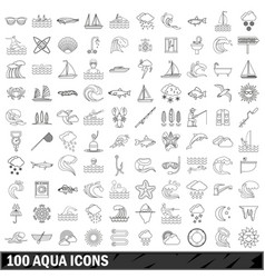 100 aqua icons set outline style vector image