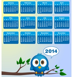 2014 calendar with funny blue bird vector image