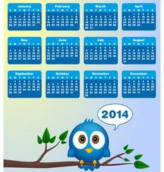 2014 calendar with funny blue bird vector
