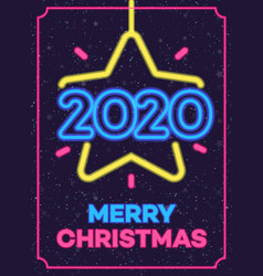 2020 christmas neon greeting card vector image