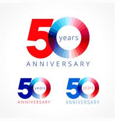 50 anniversary red blue logo vector