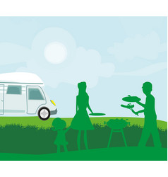 a family having a picnic vector image