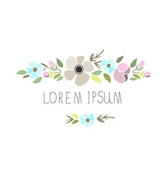 A floral set with flowers and signature vector