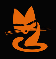 a stylized drawing a red cat vector image