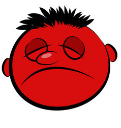 abstract red face of a sick person vector image