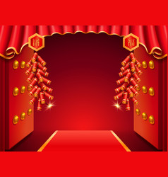 Asian temple door decorated with curtainsfirework vector