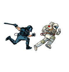 Astronaut and riot police with a baton vector