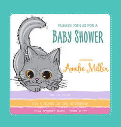 baby shower card template with funny doodle kitten vector image
