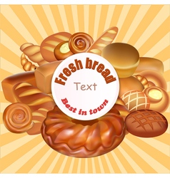 Background set of fresh bread baked vector