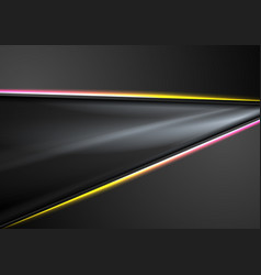 black abstract smooth background with neon lines vector image