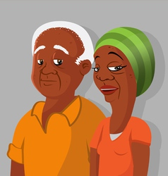 black elderly couple vector image