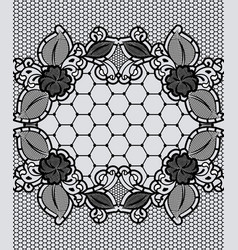 black lace frame background with grid floral vector image
