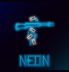 Blue glowing neon line gun shooting icon isolated vector