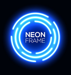 blue neon light circle shining round techno frame vector image