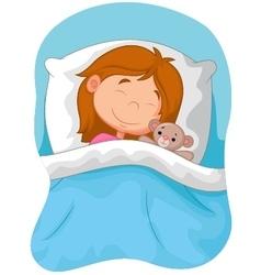 Cartoon girl sleeping with stuffed bear vector