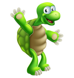 cartoon tortoise or turtle waving vector image