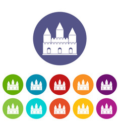 castle tower icons set flat vector image vector image
