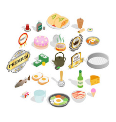 chef icons set isometric style vector image