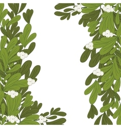 Christmas frame mistletoe with white flowers vector image