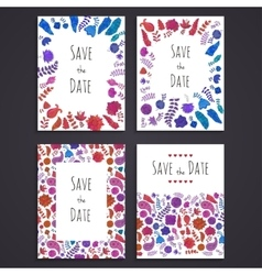 Collection of doodle greeting card templates vector image