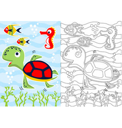 Coloring book with turtle and friends cartoon vector