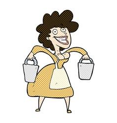 comic cartoon milkmaid carrying buckets vector image