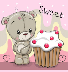 Cute cartoon teddy bear with cake vector