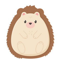 Cute hedgehog autumn on white background vector