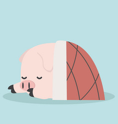 cute sleeping little pig in blanket vector image