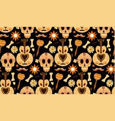 Day of the dead seamless pattern dia de los vector