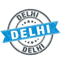 Delhi blue round grunge vintage ribbon stamp vector